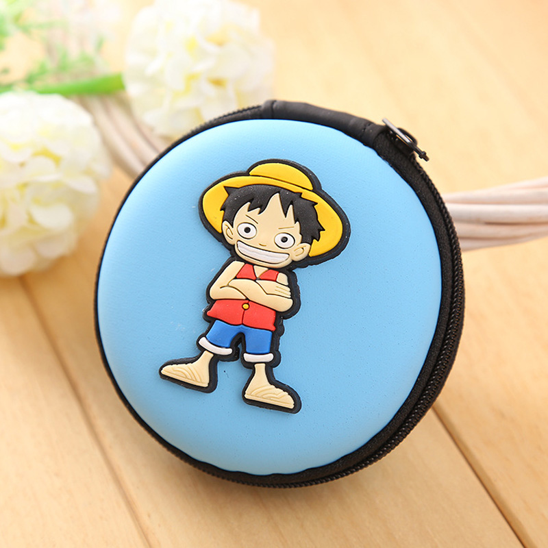 Fashion Silicone Coin Purse Cartoon Anime One Piece Earphone Organizer Bag Box Case monederos Kids Mini Coin Wallet new fashion style cartoon wallet one piece hokage ninjia black butler pu purse men wallets one punch man anime kids hasp wallet