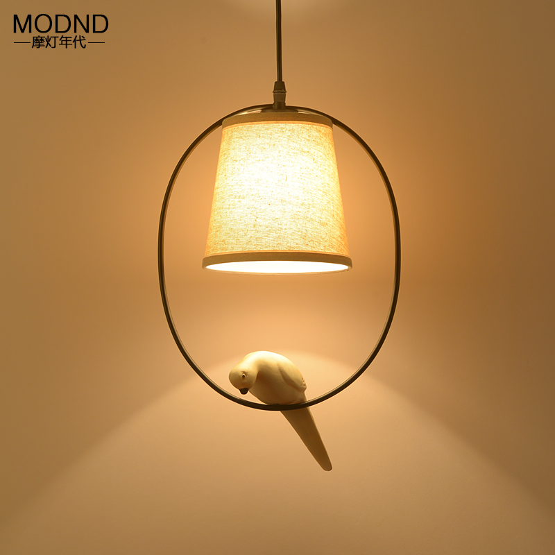 Bird decorated Pendant Light pastoral village Nordic style White shade Balcony Aisle hall entrance Restaurant Bar lighting the restaurant in front of the hotel cafe bar small aisle entrance hall creative pendant light mediterranean