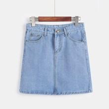 2018 Plus Size Mini Jeans Skirt Casual Women Cotton A-Line Pockets Korean Fashion Black White High Waist Summer Denim Skirts