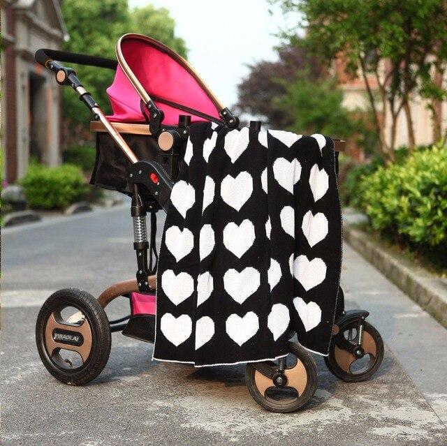 Мода горячее сердце/clauds/Крест Одеяло Трикотажные хлопок одеяло, детские коляски одеяло, белым одеялом, размер 90*110 см