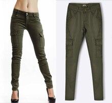 2016 New Fashion High Quality Army Green Women Sexy Mid Waist Multi Pockets Skinny Jean Slim