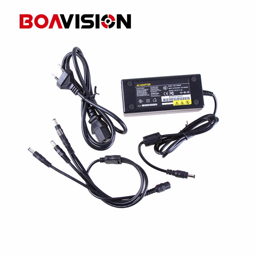 12V 5A 4CH Power Supply CCTV Camera Power Box 4 Port DC+Pigtail COAT DC 12V Power Adapter dc 12v 5a ac adapter cctv power supply adapter box 1 to 8 port for the cctv surveillance camera system abs plastic