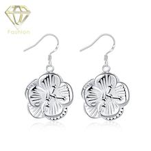 Estate Jewelry Recommend New Fashion Big Flower Shaped Silver Plated Dangle Earrings Ethnic Style Earing Women Jewellery