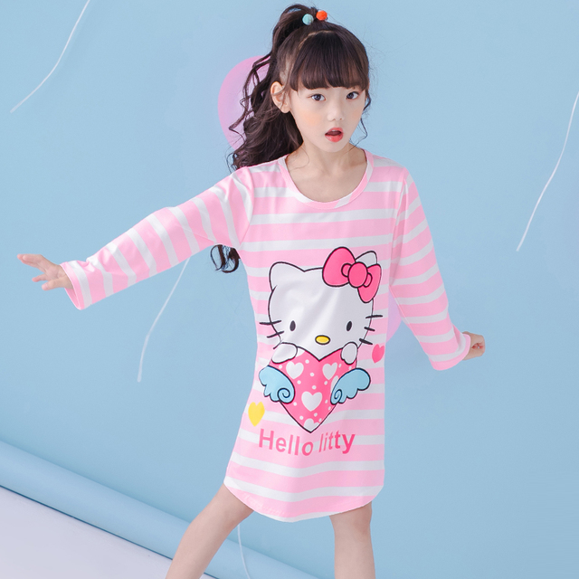 8c8fb4f17f1b Children Girls Autumn Nightgowns Long Sleeve lovely Nightdress Spring  stripe Sleepwear Kids Girl Pajamas Home Clothes