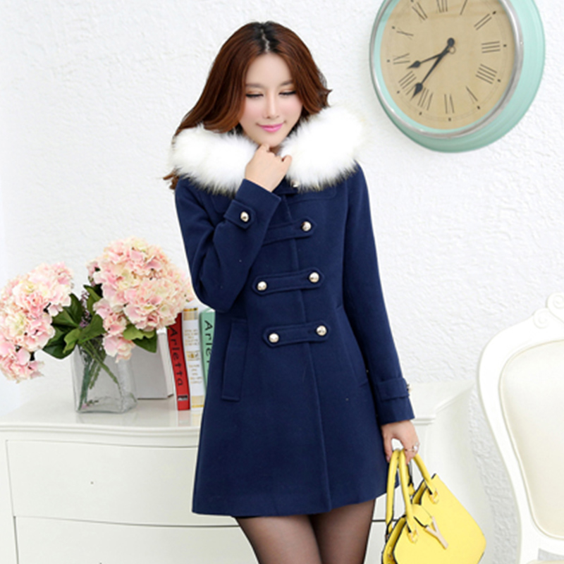 2016 autumn and winter slim women woolen coat outerwear female medium-long trench sweet preppy style fur collar casual jacket