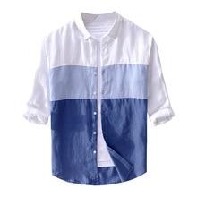 Новые летние хлопковые и мужские льняные рубашки высокого качества семь с коротким рукавом тонкая рубашка однотонная Современная Повседневная Размер 3XL