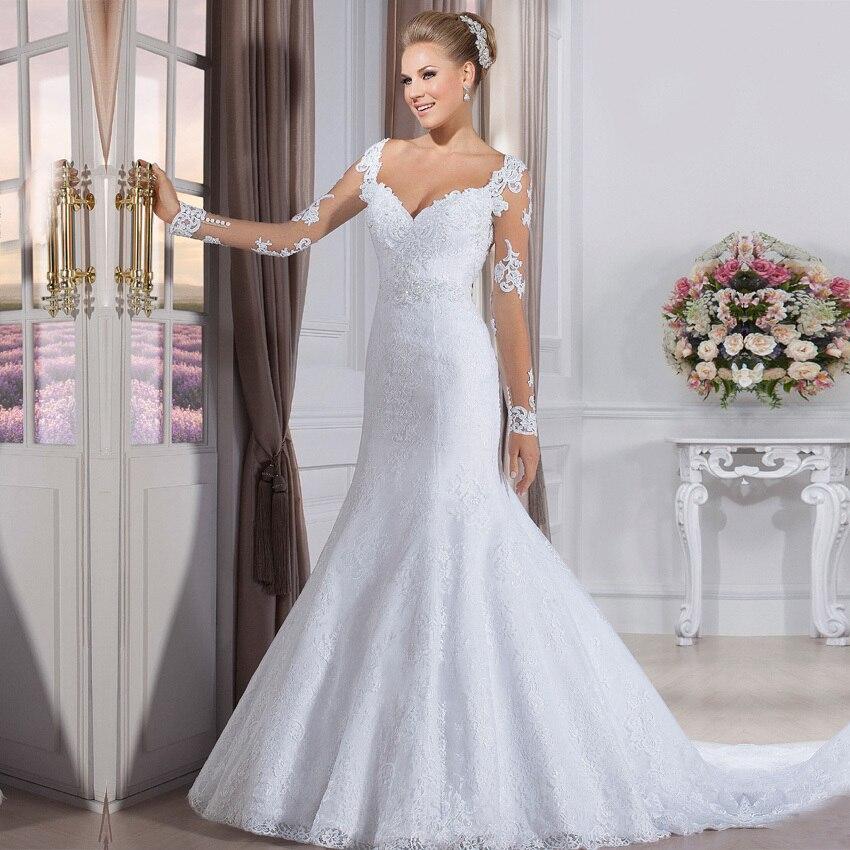 Wedding Gowns Elegant Bride Dress Vintage Long Sleeve Mermaid Lace Wedding Dresses 2016 Robe de Mariage