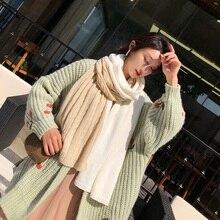цена на Winter Scarf Women Thicken cotton Warm Scarves woolen yarn knit Scarves Shawl Female Wrap Tassels two color Solid knitting Scarf