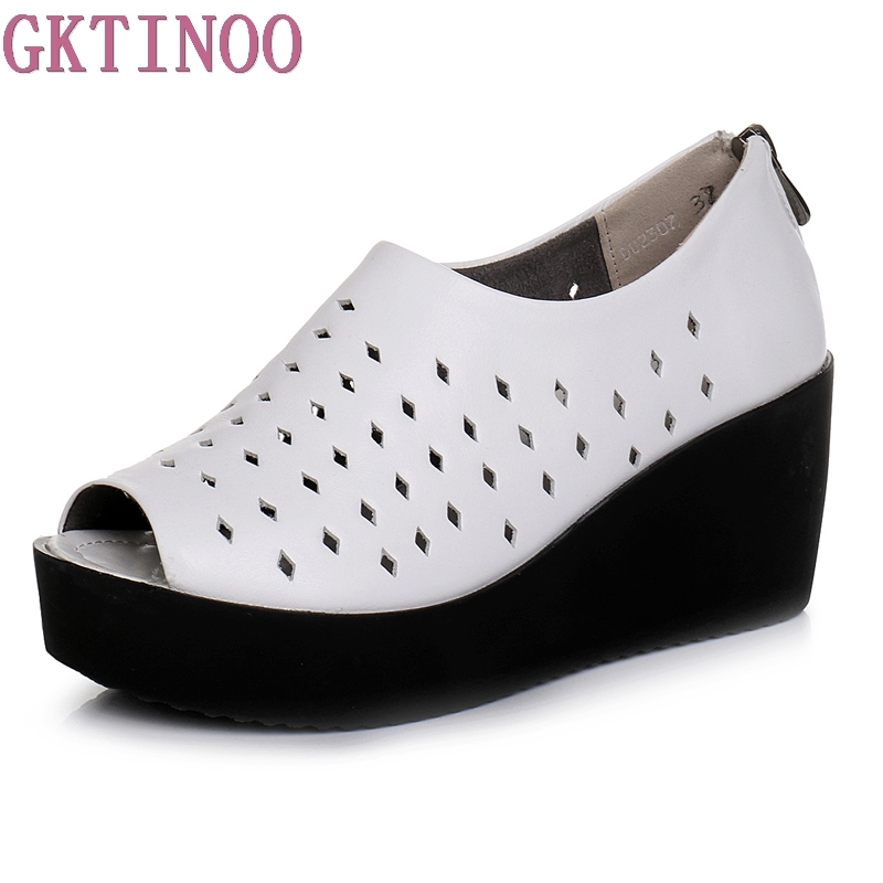 GKTINOO 2018 Summer women sandals wedges sandals ladies open toe genuine leather zipper black white platform sandals shoes gktinoo summer shoes woman genuine leather sandals open toe women shoes slip on wedges platform sandals women plus size 34 43