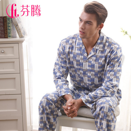 Sleepwear new arrival  male long sleeve length pants knitted lounge set
