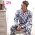 Sleepwear nova chegada masculinos calças de comprimento manga longa de malha set lounge