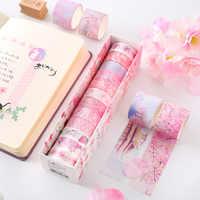 6/12 Uds./Set Cinta Adhesiva Washi Tape pegatinas Scrapbooking Cinta Adhesiva Decorativa Washitape Bant adhesivo flor sólida