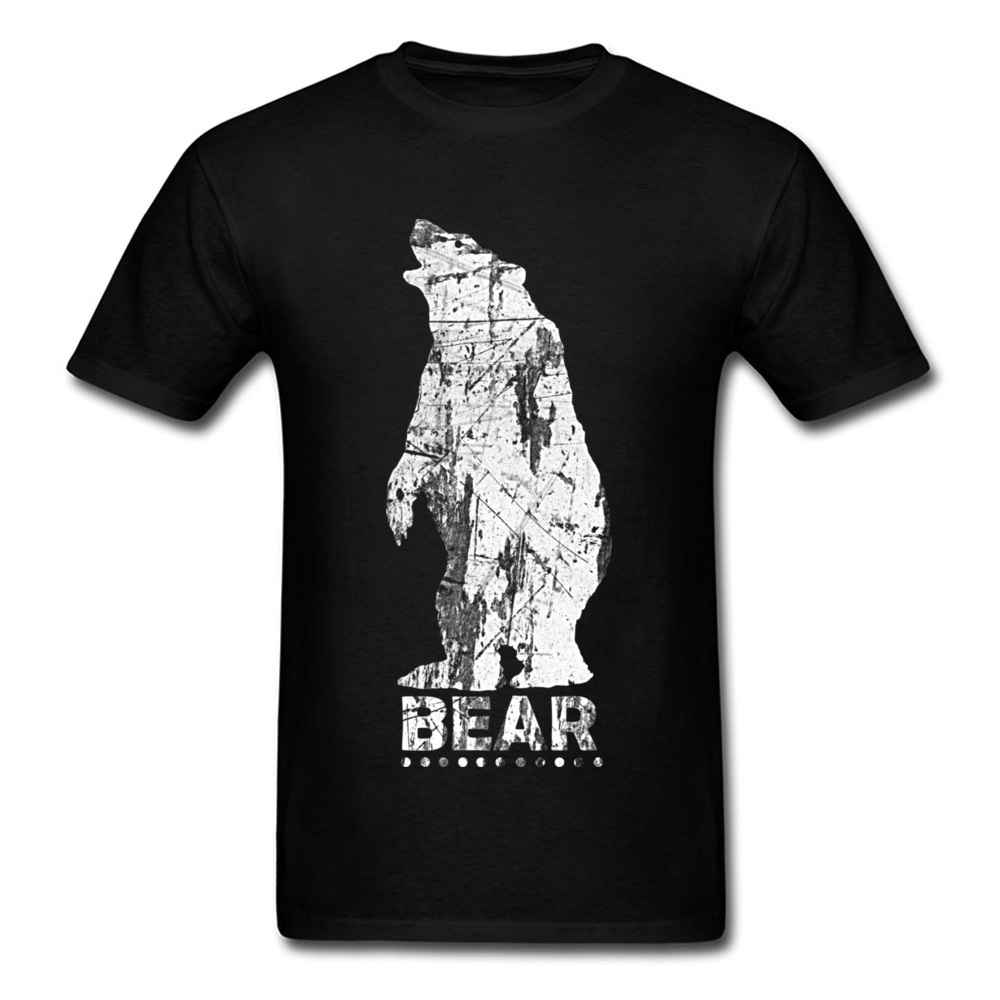 White Outline Big Russia Bear T Shirt Men Mama Bear T-Shirt Mens Fashion Band 3D Wildlife Tshirt Spring Summer Boy Tops