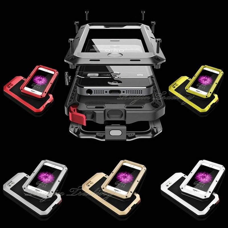 IPX3 Handy Fall Luxus Stoßfest Wasserdichte Leistungsstarke Aluminium Gorilla Glas Metall Abdeckung Für iPhone 7 5 5 s SE 6 6 s Plus