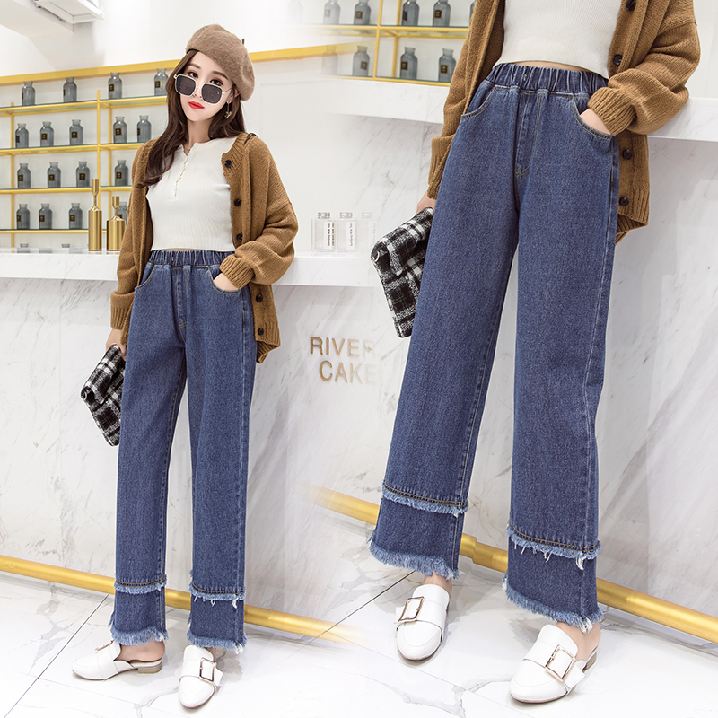 100% cotton white jeans woman high waist Straight jeans woman plus size mom jeans black 2019 spring new blue dropshipping