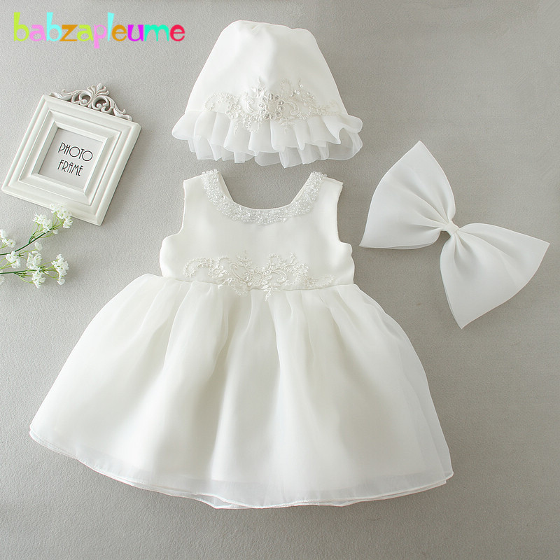 New White Christening Hat Baby Princess Girls Dress Wedding Baptism Kids Clothes
