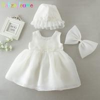 babzapleume Newborn Set Baby Girls White Christening Baptism Princess Dress+Hat 1st Birthday Outfits Wedding Dresses BC1682 1