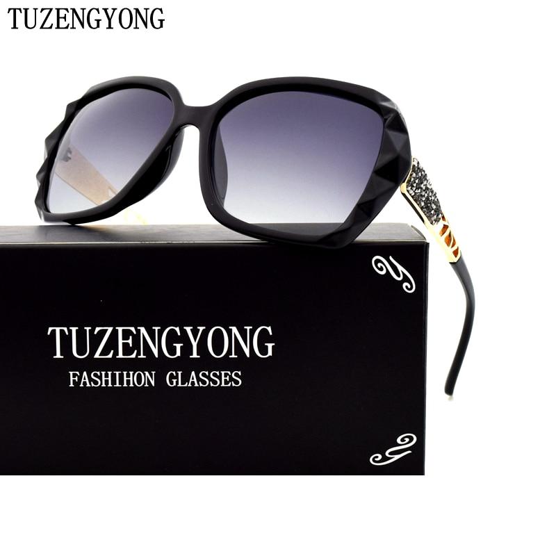 Reka Bentuk Jenama TUZENGYONG Gradient Polarized Sunglasses Wanita Kacamata Matahari Elegan Mewah Aksesori Kacamata Prismatik Wanita