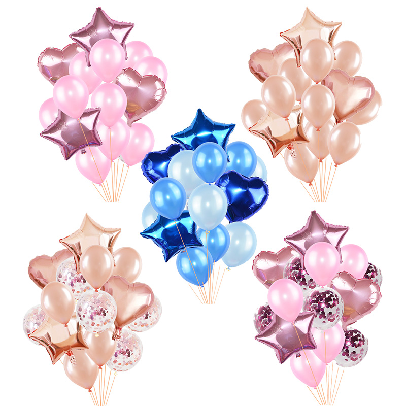 14Pcs/set 18inch Heart Star Foil Balloon For Wedding Party Decorations