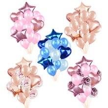 14 unids/set 18 pulgadas corazón globo de aluminio de estrella 12 pulgadas confeti látex globos para fiesta de boda decoración chico niños cumpleaños suministros