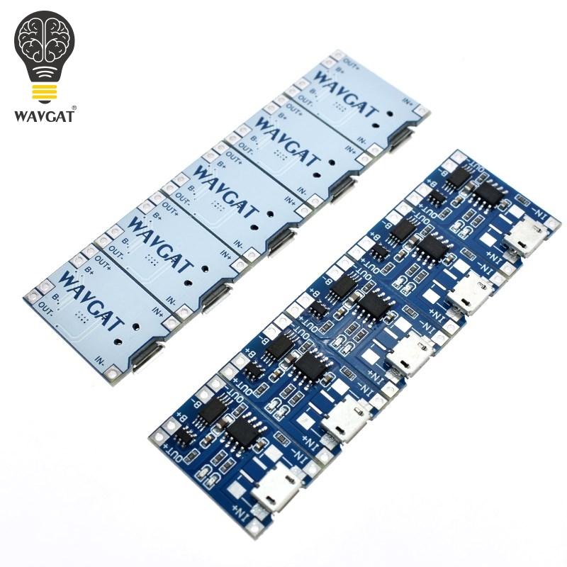 5 pcs Micro <font><b>USB</b></font> <font><b>5V</b></font> 1A 18650 TP4056 Lithium Battery Charger Module Charging Board With Protection Dual Functions 1A Li-ion image