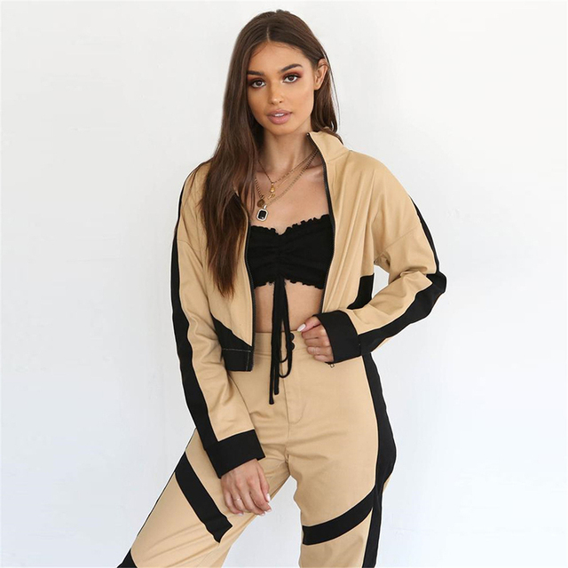 Women's Color Block Sports Bomber Jacket and Sweatpants Set  S-L