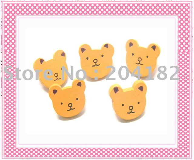 Free shipping+50pcs Bear Wood Buttons Scrapbooking Sewing Crafts B42