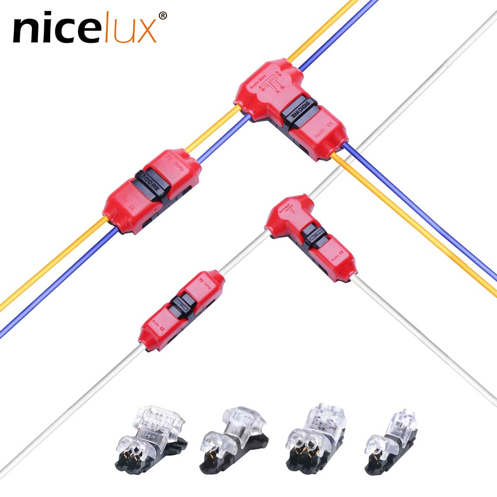 5pcs I/T type 1pin 2pin Quick Splice Scotch Lock Wire Connector for Terminals Crimp 22-18AWG Wiring LED Strip Car Audio Cable