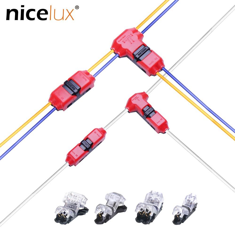 5 шт. тип I/T, 1 контакт, 2 контакта, быстроразъемный фоторазъем для клемм, обжимной проводки 22-18AWG, Светодиодная лента, автомобильный аудиокабел...