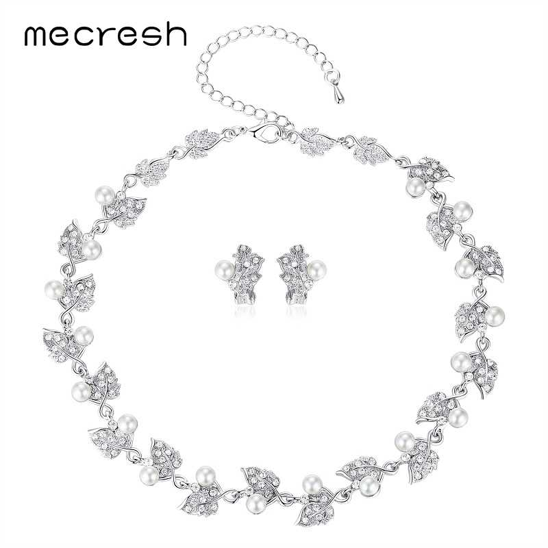 Mecresh European Trendy Simulated Pearl Bridal Jewelry Sets Silver Color Leaves Crystal Wedding Necklace Sets Jewelry MTL517