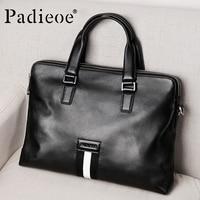Padieoe Male Briefcase Genuine Leather Office Documen'ts Messenger Bag Famous Brand Portfolio Man Leather Bag for 15 Laptop