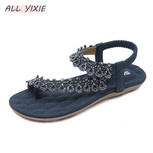 ALL YIXIE 2019 Summer New Fashion Womens Shoes Sandals National Bohemian Casual Rhinestone Flat Slippers