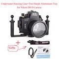 Meikon Equipamento de Mergulho 60 m/D810 195ft Caso Caixa Da Câmera Subaquática para Nikon, sacos da câmera À Prova D' Água + Duas Mãos da Bandeja De Alumínio