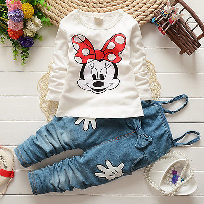 2015 New Girls Baby Tops T-shirt Denim Bib Pants Cartoon Minnie Two-piece Outfit Set 1-5Y 2pcs children outfit clothes kids baby girl off shoulder cotton ruffled sleeve tops striped t shirt blue denim jeans sunsuit set