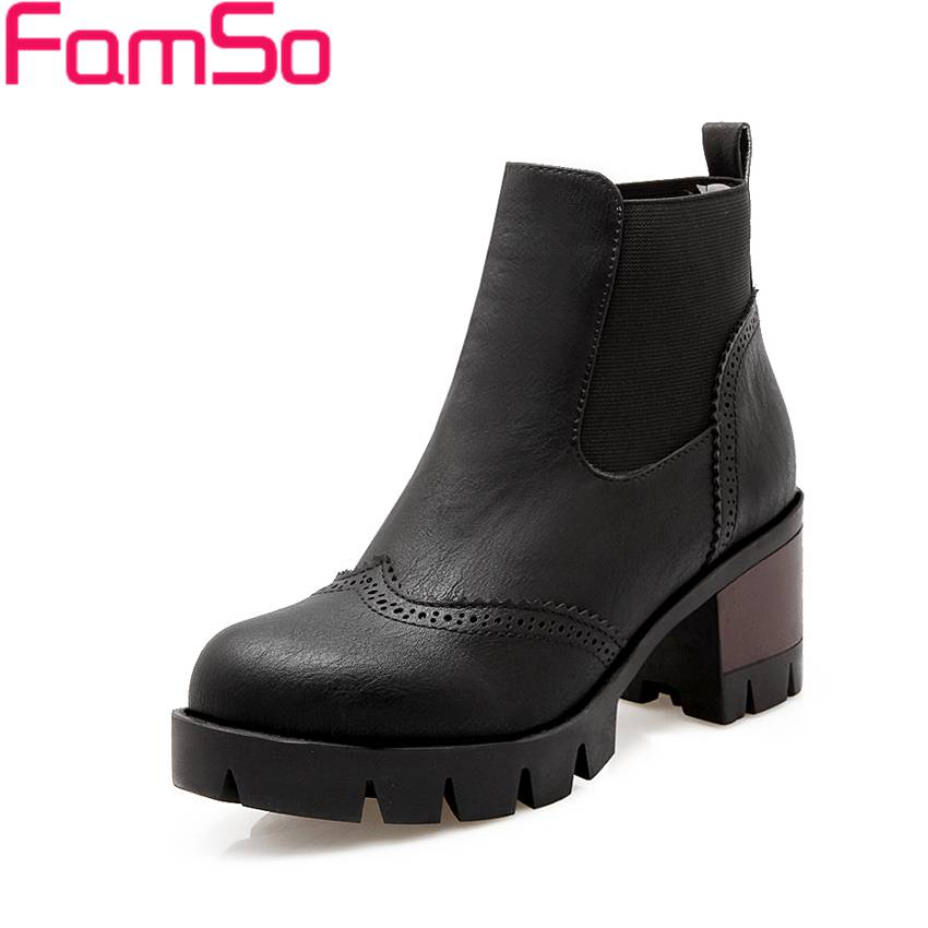 Plus Size 34 43 2016 New Black Boots High Heels Platforms Shoes Spring Autumn Ankle Boots