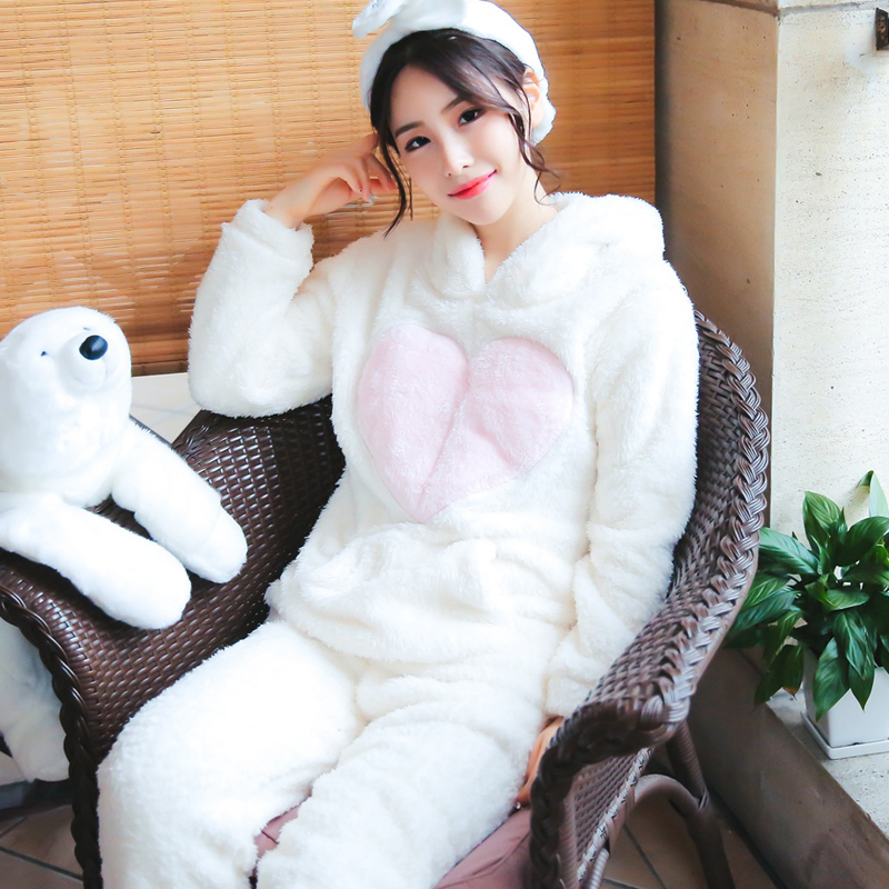 Woman   Pajamas     Sets   Winter Flannel Hooded Warm Simple Thick High Quality Cure Female Pyjamas Suits For Woman Home Wear BANNIROU
