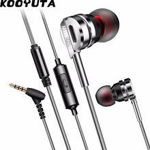 KOOYUTA HiFi kulak kulaklık Metal Stereo bas kulaklık fone de ouvido iPhone için mikrofon ile Xiaomi MP3 gürültü