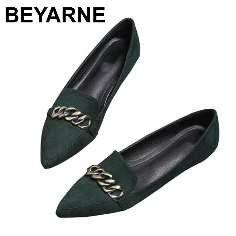 BEYARNE Europe United States women's shoes new PU shoes with flat chain flat shallow mouth pointed big yards single shoe