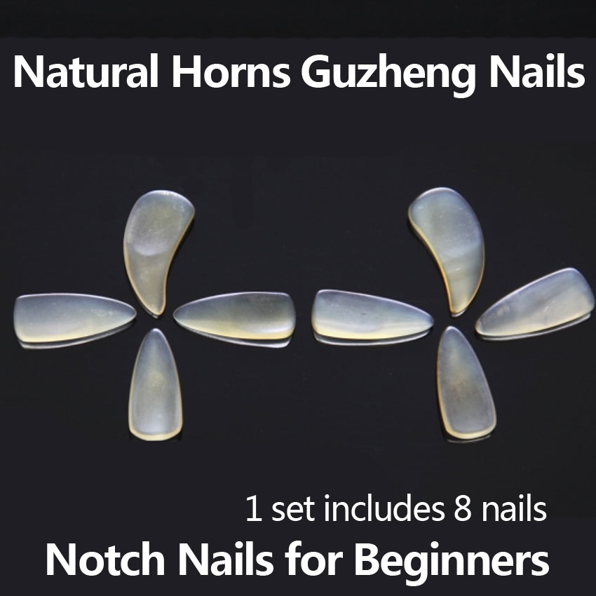 Chinese Guzheng Nails Natural Horns Thicken Nail Notch Fingering Nail For Beginners Zither Accessories Adult&Children S / M / L