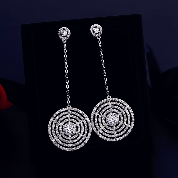 Fashion Network Design AAA cubic zirconia Simple multi-layer Round Long Drop Earrings Women Party Jewelry Accessaries