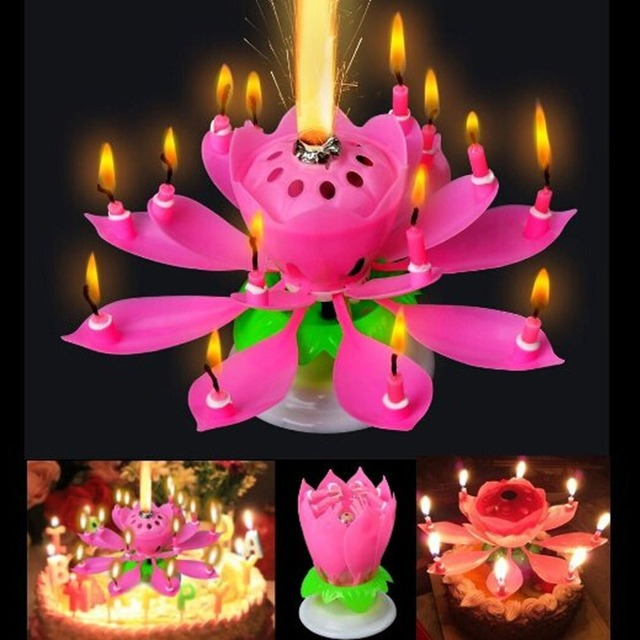 The Amazing Romantic Birthday Party Decorations Kids Lotus Cake Rotating Musical Candle Flowers Gift3 PCS