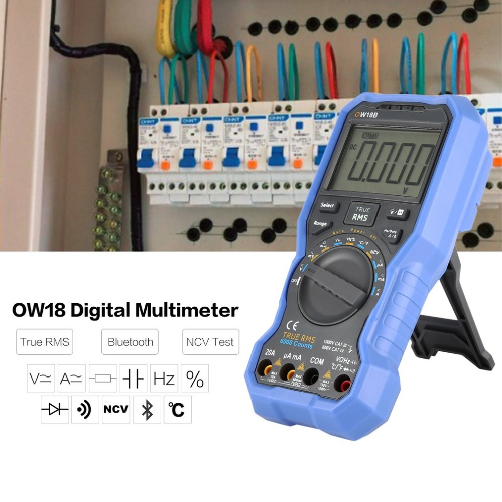 Owon OW18B Digital Multimeter DC/AC Voltage Current Meter Handheld Voltmeter Ammeter Diode NCV Tester Multitester True RMS