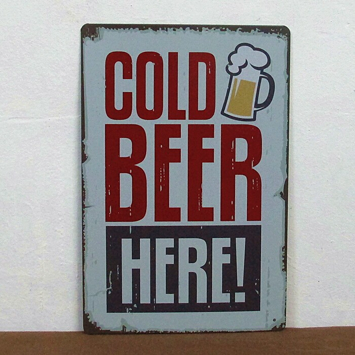Cold beer here painting Tin Sign Bar pub Garage home Wall Decor Retro Metal Art Poster TPH2015060943