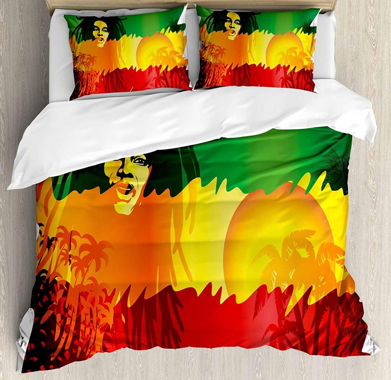 Rasta Duvet Cover Set Iconic Reggae Music Singer Abstract ...