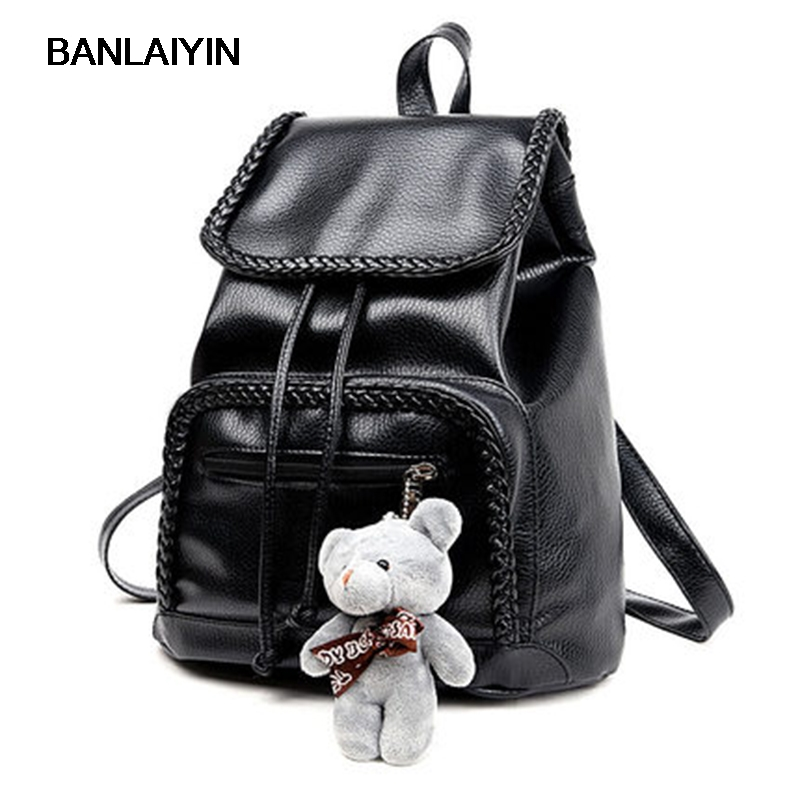 Nice Travel Backpack Korean VogueWomen Shoulder Bags Girls Fashion Schoolbag High Quality Soft PU Leather Women