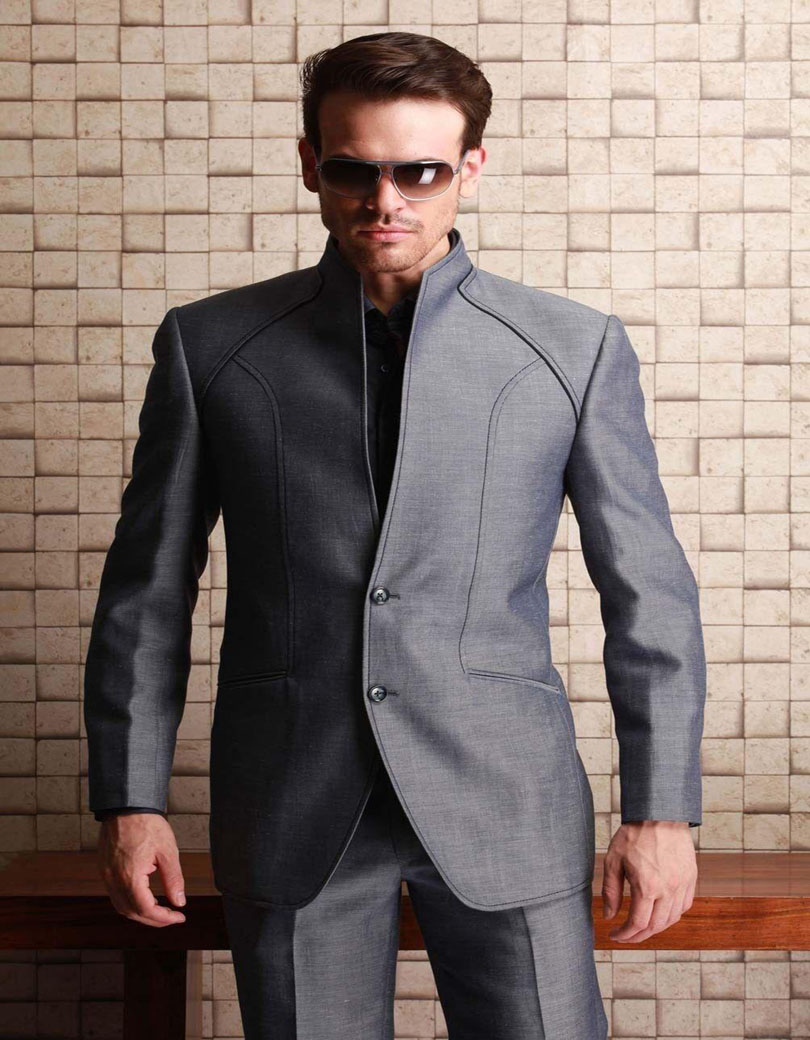 e60e2fa7 US $80.1 10% OFF|2019 Western Styles Shiny Grey For Wedding Waistcoats Best  Man Bridegroom Party Prom Suits With High Neck (Jacket+Pants)-in Suits ...