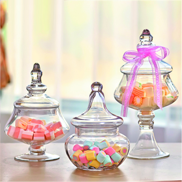 European Transparent Glass Bottles Candy Jar Dust Proof With Lid