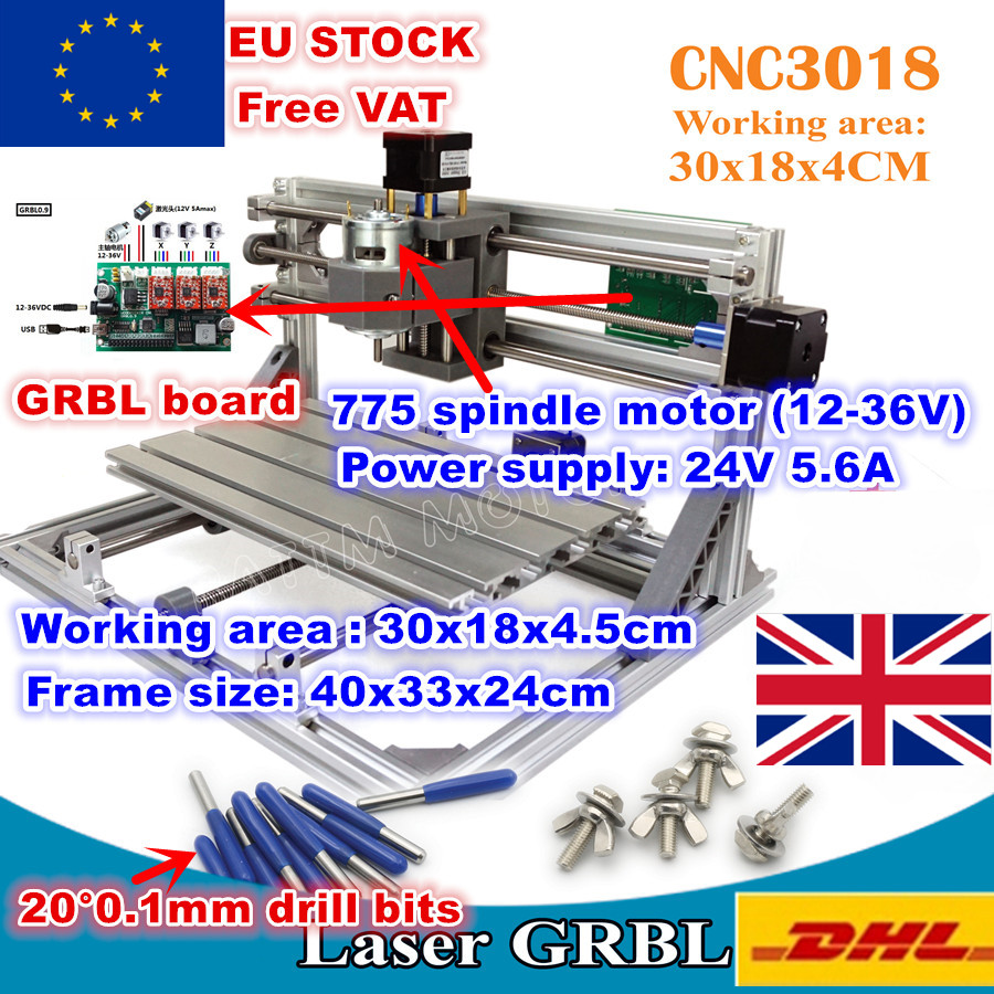 [EU STOCK/Free VAT]3018 GRBL Control 3 Axis DIY CNC Machine 30x18x4.5cm Pcb Pvc Laser Engraving Machine Wood Router Milling