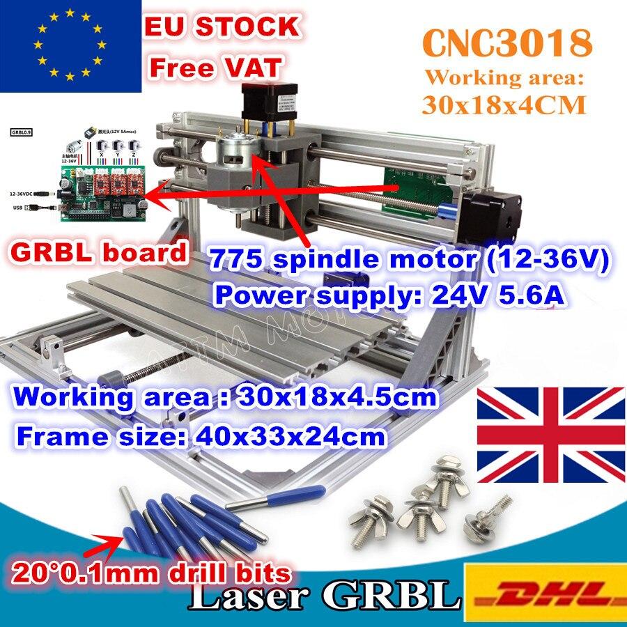 [EU STOCK/Free VAT]3018 GRBL Control 3 Axis DIY CNC Machine 30x18x4.5cm Pcb Pvc Laser Engraving Machine Wood Router Milling