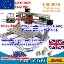 Máquina de grabado láser, USB 3018, controlador GRBL, 3 ejes, CNC, 30x18x4,5 cm, Pcb, Pvc, fresadora de madera